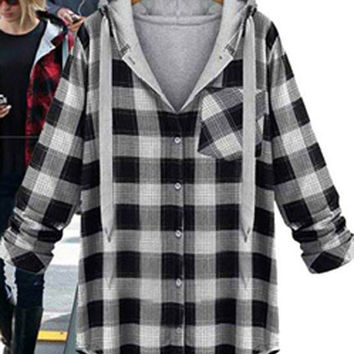 Plaid Long-Sleeve Button Collared Pocket Shirt
