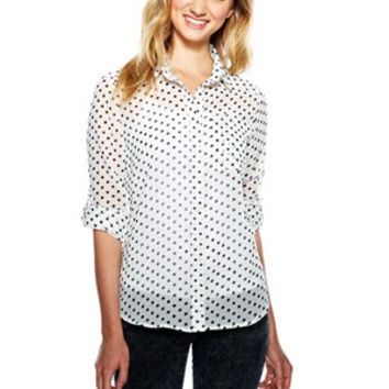 Polka Dot Chiffon Button-Down Shirt - White Multi