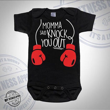 Baby Onesuit. Funny Baby Onesuit. Momma Said Knock You Out. Cute Onesuit. Unisex Baby Onesuit. Funny Onesuit. Baby Bodysuit. Custom Onesuit.