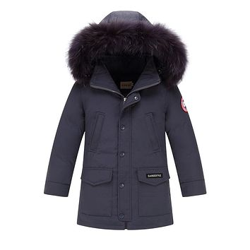 2017 Winter Children's Down Jackets Coats Boys Warm Parkas Fur Collar Big Boy Coat Thick Duck Down Feather Jacket Outerwears