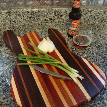 Handmade Wood Jazzy Bass Guitar Cutting Board - Bloodwood & Peruvian Black Walnut