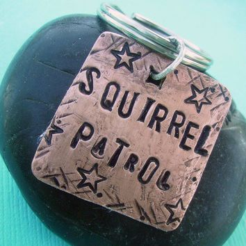 Squirrel Patrol Pet Id Tag - hand stamped antiqued copper - custom personalized for your furry friend