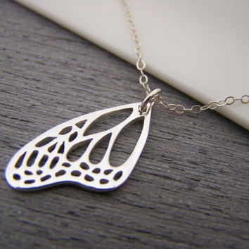 Butterfly Wing Charm Sterling Silver Necklace Simple Jewelry / Gift for Her