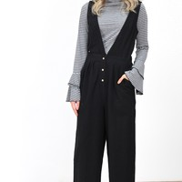 Deep V Wide Leg + Button Front Jumpsuit {Black}