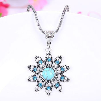 Snowflake Necklace. Tibetan Silver necklace, Turquoise Pendant Necklace. Tibetan silver pendant. Snowflake jewellery