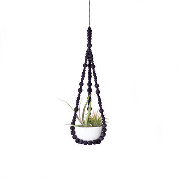 Small Beaded Hanging Planter with Cup | Modern Plant Hanger | Hand Dyed Wood Beads | Minimalist Home Decor