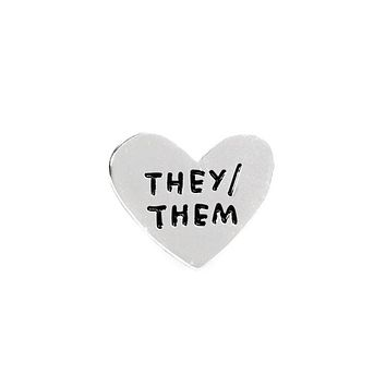 They / Them Gender Pronoun Heart Pin