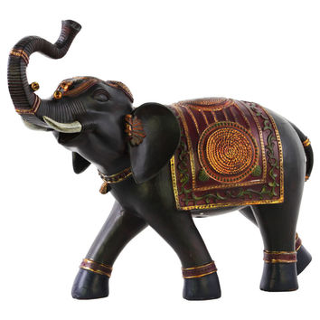 Resin Walking Trumpeting Indian Elephant Figurine with Red Blanket Large Painted Finish Espresso Brown