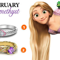 925 Sterling Silver Multi-Color Stone Disney Princess Birthstone Engagement Ring