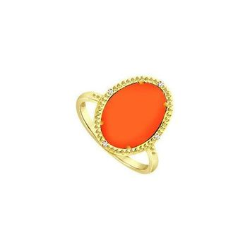15.08 ct Orange Chalcedony and Cubic Zirconia Ring in .925 Sterling Silver Overlay 18K Yellow Go