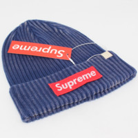 Supreme striped letter knit hat warm winter hat Blue
