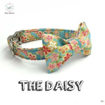 the soft breeze dog or cat collar set with bow tie  personal custom pet pupply designer product dog &cat necklace XS-XL