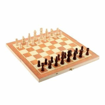 ICIKUH3 Classic Wooden Chess Set Board Game 34cm x 34cm Foldable Portable Kids Gift  For Fun Family Friend