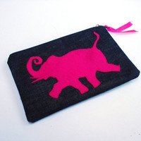 Handmade Embroidered Zipper pouch, clutch,Cosmetic bag, Pencil case, ooak,blue denim, pink elephant