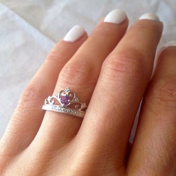 Sterling Silver Crown Ring with Amethyst and Diamond