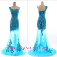 Long mermaid blue lace prom dress/ evening dress 2014