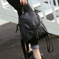 Soft Vintage Leather Backpack Daypack School Bag