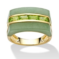 2.10 TCW Emerald-Cut Genuine Peridot and Jade Ring in Sterling Silver with a Golden Finish