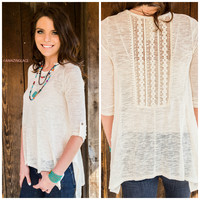 Rolling Canyon Ivory Knit Crochet Back Top
