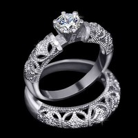 Carved Filigree Wedding Set with .75 ct Round Solitaire in White Gold (HR-1400)