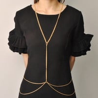 Golden Body Chain Necklace Long Jewelry Cloth Necklaces