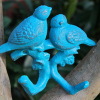 Turquoise / Love Birds / Key hook / coat hanger by AquaXpressions
