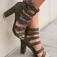 Red Desert Multi Buckle Strappy Suede Heels (Olive)