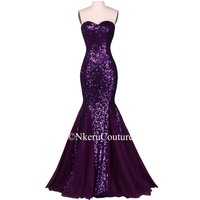 Sequin Long Evening Dress Sparkly Purple Elegant Formal Dress Mermaid Evening Gown Ww54
