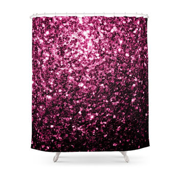 Society6 Beautiful Pink Glitter Sparkles Shower Curtains