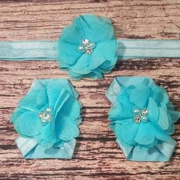 Blue Chiffon Flower Baby Headband and Barefoot Sandal Set!