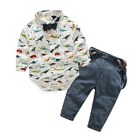 Baby Boys Clothing Set Newborn Baby Clothing infant clothes Dinosaurs Printed Cotton Long Sleeve rompers+trousers
