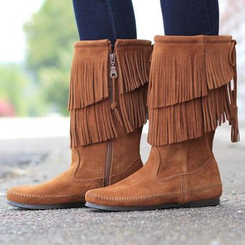 ONETOW Minnetonka: 2-Layer Fringe Boot {Brown}