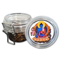 Airtight Stash Jar with Silicone Seal - Medicine Buddha - Food-Grade Plastic with Locking Wire Top - Smell Proof Hermes Container