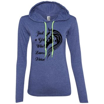 Just a Girl Who Loves Horses T-shirt 887L Anvil Ladies' LS T-Shirt Hoodie