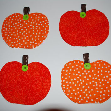 Adorable Fall Quilted Pumpkin Coasters