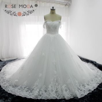 Rose Moda Luxury Off Shoulder Puffy Princess Wedding Ball Gown Cathedral Royal Train Church Wedding Dress 3D Flowers