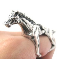3D Horse Pony Shaped Animal Wrap Armor Knuckle Joint Ring in Silver   Size 5 to 9