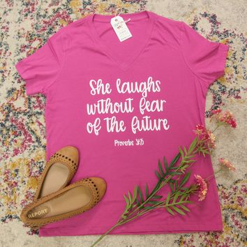 She Laughs without Fear of the Future Relaxed Ladies Vneck