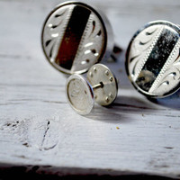 Silver Cufflinks with Tie Pin , Tuxedo and Wedding Suit , Prom