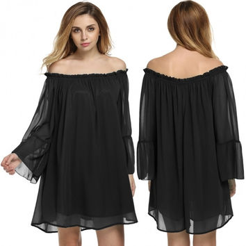 Women Casual Boat Neck Sexy Off Shoulder Boho Ruffle Sleeve Loose Chiffon Mini Dress