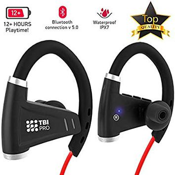 Bluetooth Headphones w/ 12+ Hours Battery - Best Workout Wireless Sport Earphones w/Mic - IPX7 Waterproof Music Earbuds for Gym Running (Sport Headphones)