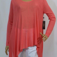 Kerisma Demi II Asymmetrical Sheer Knit Top- Sunrise