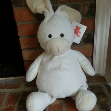 Embroidered Bunny- Birth announcement gift - Embroider buddy - EB - stuffed bunny- bunny stuffed animal