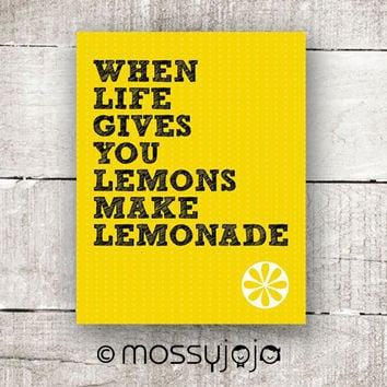 When Life Gives You Lemons Make Lemonade - 8x10 print. Kitchen art print, Dining Décor, Children Room. By MossyJojo.