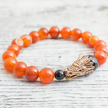 orange agate beaded rose gold dragon head stretchy bracelet, made to order yoga bracelet, mens bracelet, womens bracelet