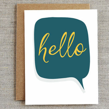 Hello -Thinking of You Card, Just Because Card, Any Occasion Card, Thank You Card, Greeting Card