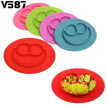 Food Grade Silicone Food Dish Plate Feeding Placemat Plate Food Table Mat Heat Resistant Dinner Pan Home Kitchen Dining Cutlery