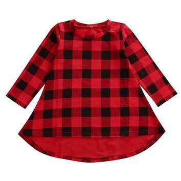 2017 New Dress Spring Autumn Cute Princess Girls Long Sleeve Plaid Cotton Dress Party Formal Baby Dresses