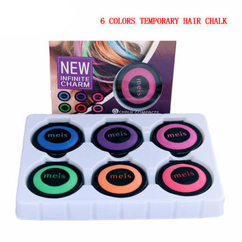New Fashion Hair Color Hair chalk set makeup temporary hair chalk paint for hair 6 colors Free shipping 6 pieces / set