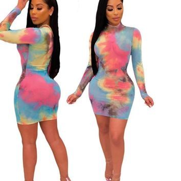 Women Fashion Sexy Tie Dye Long Sleeve Mini Dress